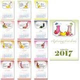 Calendar grid for 2017. Refreshing fruity drinks Stock Photos