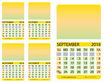 Calendar grid.September. October. November. December. Calendar grid. September. October. November. December. This page wall calendar. In place of the gradient Royalty Free Stock Photography