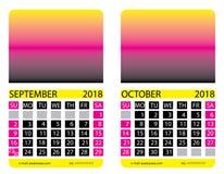Calendar grid.September. October Stock Images