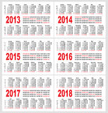 Calendar grid, set Royalty Free Stock Images