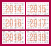 Calendar grid for 2014, 2015, 2016, 2017, 2018, 2019 Stock Photos