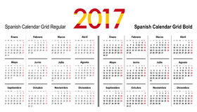 Calendar grid for 2017 with Spain flag colors. On 2017. Mondays first. Regular and bold digits grid. Best for business and office needs, web design Royalty Free Stock Photos