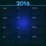 Calendar grid for 2016. Calendar grid for 2016, template for you design on dark background Royalty Free Stock Image