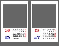 Calendar for the year 2019 stock images