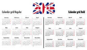 Calendar grid for 2018 with UK flag colors on 2018 digits. Calendar grid for 2018 with United Kingdom flag colors on 2018 digits. Mondays first. Regular and bold Royalty Free Stock Photo