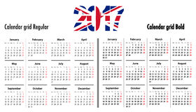 Calendar grid for 2017 with United Kingdom flag colors on 2017. Mondays first. Regular and bold digits grid. Best for business and office needs, web design Royalty Free Stock Image