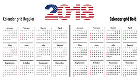 Calendar grid for 2018 with USA flag colors on 2018 digits Stock Images