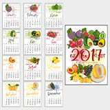 Calendar grid for 2017. Useful properties of fruits Royalty Free Stock Photos