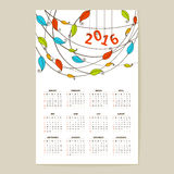 Calendar grid for 2016 Stock Images