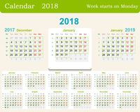 Calendar grid for 2018 week starts from Monday and from December of the previous year 2017 and January next 2019. Includes the wee Stock Images