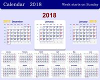 Calendar grid for 2018 week starts from Sunday and from December of the previous year 2017 and January next 2019. Includes the wee. K numbers. Vector Stock Image