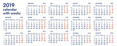 2019 calendar grid with weeks illustration Stock Photography