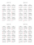 Calendar 2013,2014,2015,2016 Royalty Free Stock Image