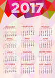 Calendar grid for 2017 year with abstract polygonal ornament Royalty Free Stock Images