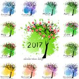 Calendar grid for 2017 year with abstract tree Royalty Free Stock Photo