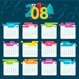 2018 calendar grid for a year vector illustration