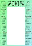Calendar grid for 2015 year with marked weekend days. Place for picture. Vertical orientation. Vector illustration stock illustration