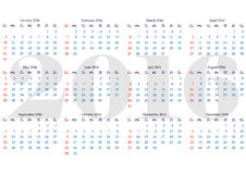 Calendar grid for 2016 year with marked weekend days. Simple design. Horizontal orientation. Vector illustration Royalty Free Stock Photography