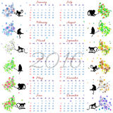 Calendar grid for 2016 year with monkey on tree branch for all seasons. Calendar grid for 2016 year with marked weekend days. Monkey on tree branch for all Royalty Free Stock Images