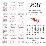 Calendar grid for 2017 year by months Royalty Free Stock Images