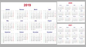 Calendar grid for 2019, 2020 and 2021 years set. The week starts on Monday. One day off - Sunday. Simple horizontal template in En vector illustration