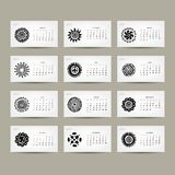 Calendar grid 2015 for your design, ethnic. Ornament. Vector illustration Stock Images