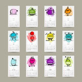 Calendar grid 2015 for your design, fitness people Stock Photo