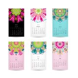 Calendar grid 2015 for your design, floral Royalty Free Stock Image