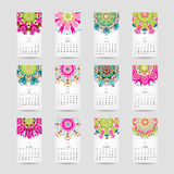 Calendar grid 2015 for your design, floral Stock Photography