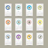 Calendar grid 2015, zodiac signs design. Vector illustration royalty free illustration