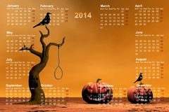 Calendar 2014. And halloween orange Vector Illustration