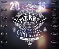 Calendar with hand drawn typography, handwriting on 2015 vector Royalty Free Stock Image