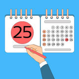 Calendar Hand Hold Pen 25 Last Financial Statements Date Stock Image