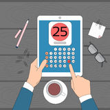 Calendar Hand Hold Tablet Computer Digital Device 25 Last Financial Statements. Date Month Deadline Vector Illustration Royalty Free Stock Photos