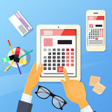 Calendar Hand Pen Tablet Computer Digital Device Stock Image