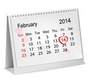 Calendar with hand written red heart. Stock Photos
