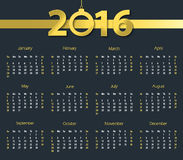 2016 calendar with hanging bell on dark blue background. Week starts with sunday Stock Image