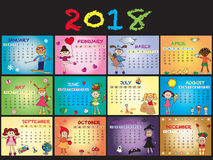 Calendar 2018. With happy children Royalty Free Stock Photos