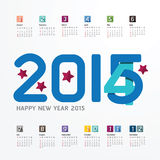 2015 Calendar / 2015  Happy new year. Calendar  design. creative. Paper fonts style Royalty Free Stock Images