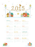 Calendar for Happy New Year 2015 celebrations. Annual calendar of 2015 with X-mas objects and colorful huts for Happy New Year celebrations Royalty Free Stock Image