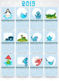 Calendar for Happy New Year 2015 celebrations. Calendar of 2015 with cartoon of water animals for Happy New Year celebrations Royalty Free Stock Photos