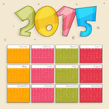 Calendar for Happy New Year celebrations. Colorful yearly calendar with stylish text 2015 on stars decorated background for Happy New Year celebrations Royalty Free Stock Photography