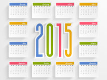 Calendar for Happy New Year celebrations. Stylish annual calendar with colorful text 2015 for Happy New Year celebrations Stock Image