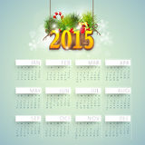 Calendar for Happy New Year 2015 celebrations. Yearly calendar with hanging text 2015 on blue background for Happy New year celebrations stock illustration