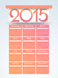Calendar for Happy New Year 2015 celebrations. Yearly calendar with text 2015 in awning for Happy New Year celebrations Stock Photo