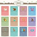 Calendar for Happy New Year 2015 celebrations. Yearly calendar of 2015 with zodiac or horoscope signs for Happy New Year celebrations stock illustration