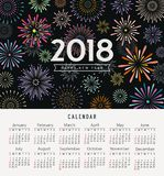 Calendar happy new year 2018 colorful fireworks. Design background, vector illustration Stock Images
