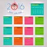 Calendar happy new year  illustration. Calendar 2016 happy new year  illustration Stock Images