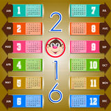 Calendar happy new year  illustration. Calendar 2016 happy new year  illustration Royalty Free Stock Photos