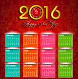 Calendar happy new year  illustration. Calendar 2016 happy new year  illustration Stock Photos